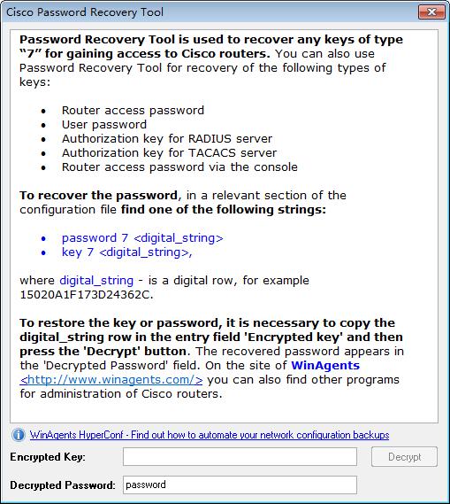 Cisco Password Recovery tool(Cisco密�a查看工具)